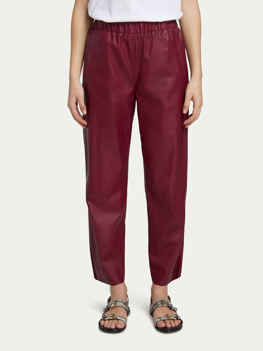 Stretchy leather jogging bottoms