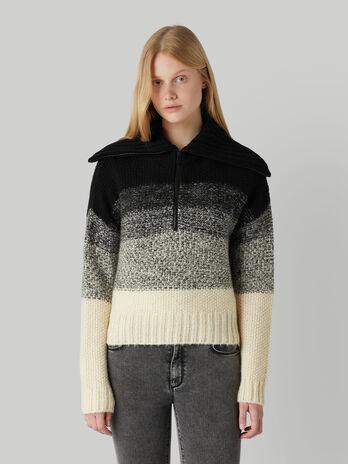 Pullover in mohair e lana con maxi collo a zip