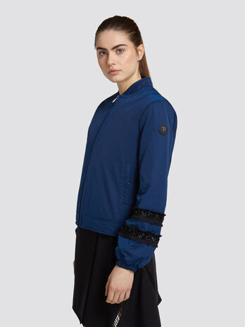a470a11ad796 Bomber regular fit in gabardine con bande paillettate