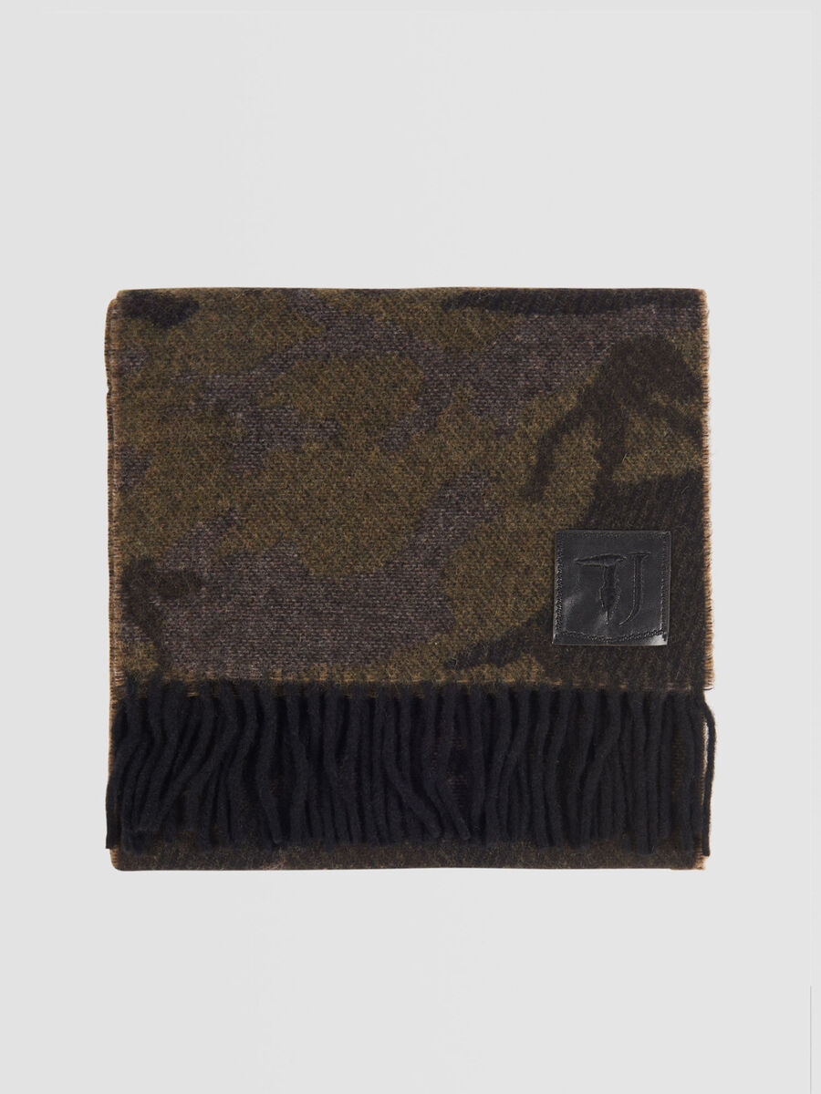 Camouflage wool blend pashmina