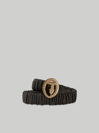 Stretch nappa leather belt with monogram buckle
