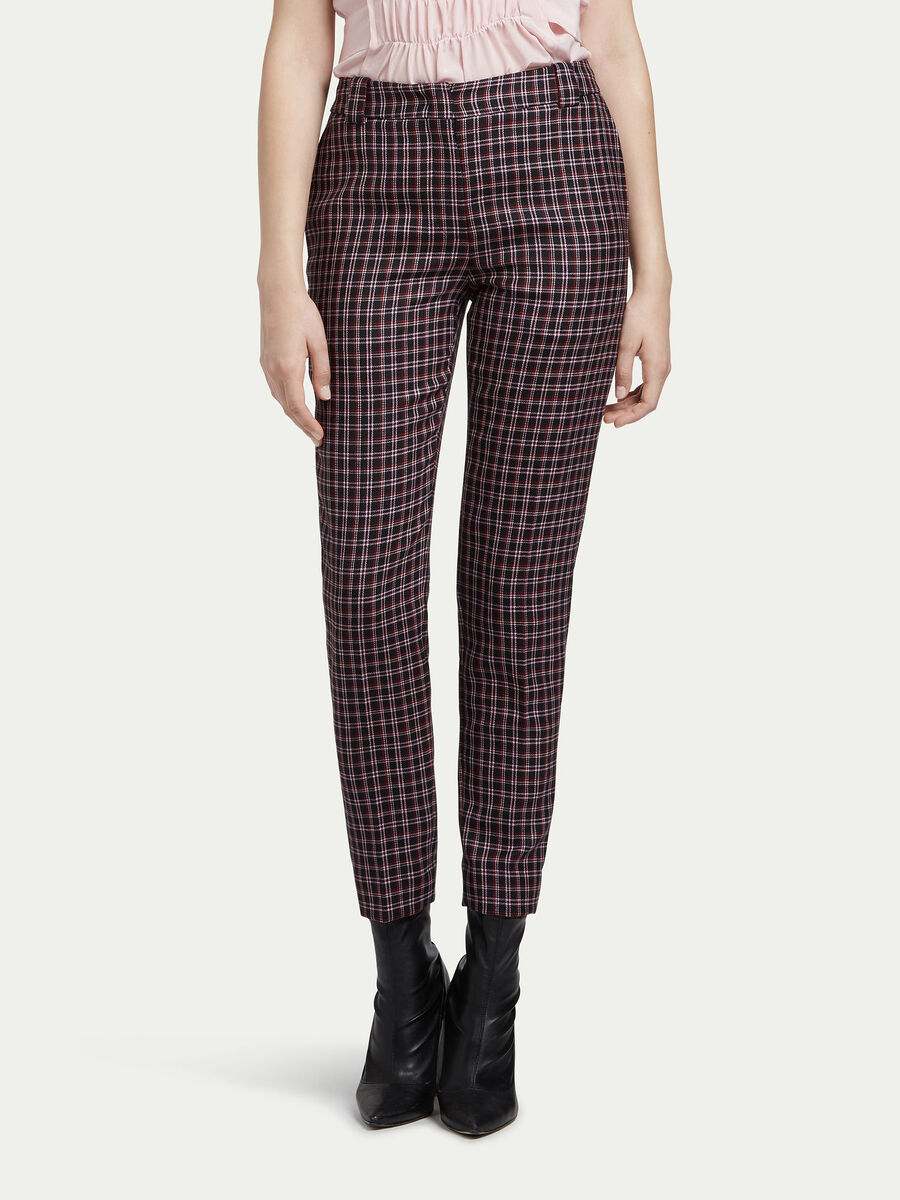 Chequered wool cigarette trousers