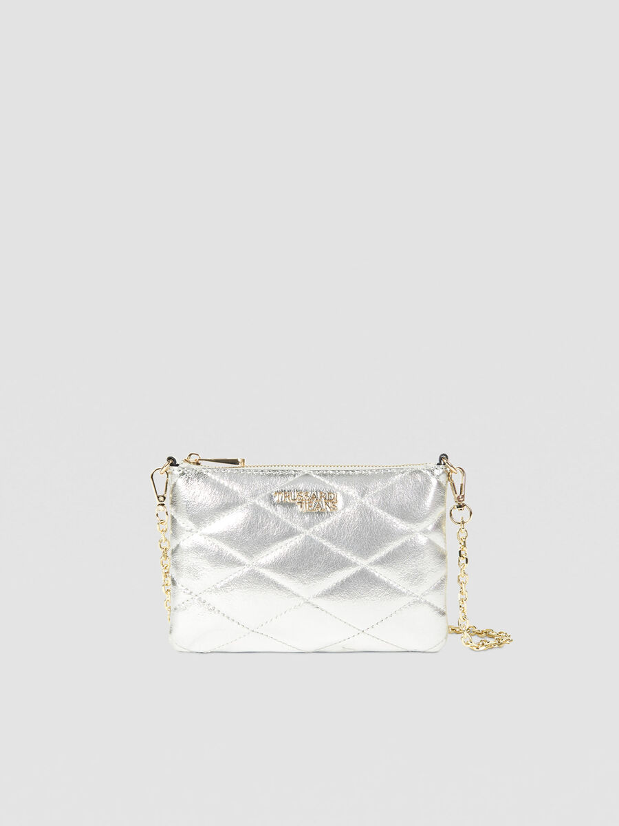 Clutch metal small in similpelle con zip
