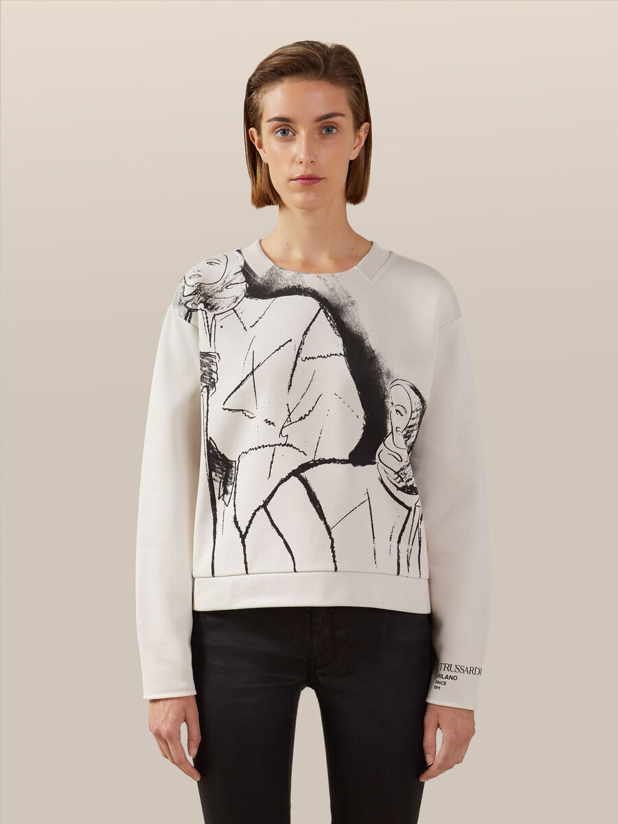 Regular fit cotton sweatshirt with graphic print