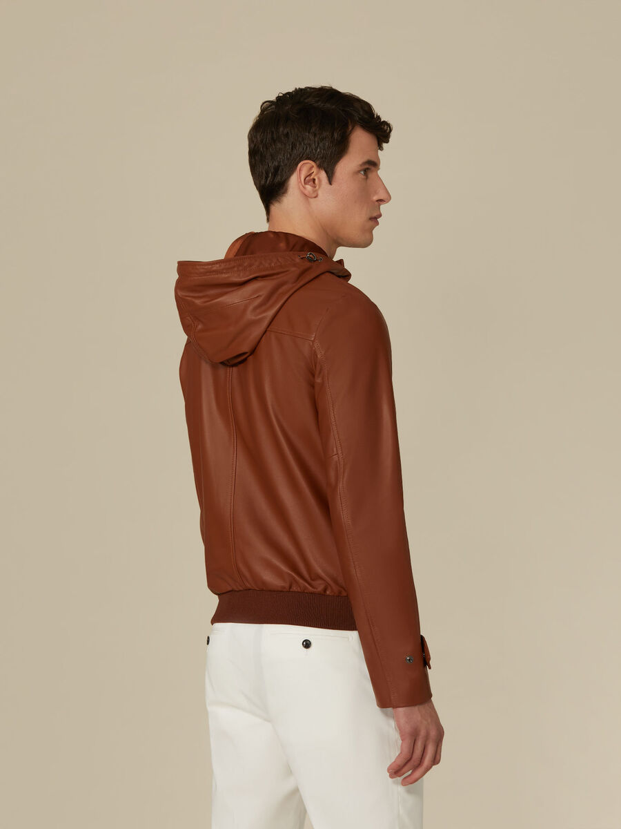 Regular-fit leather bomber jacket with hood