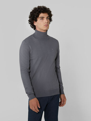 Slim fit viscose blend polo neck pullover