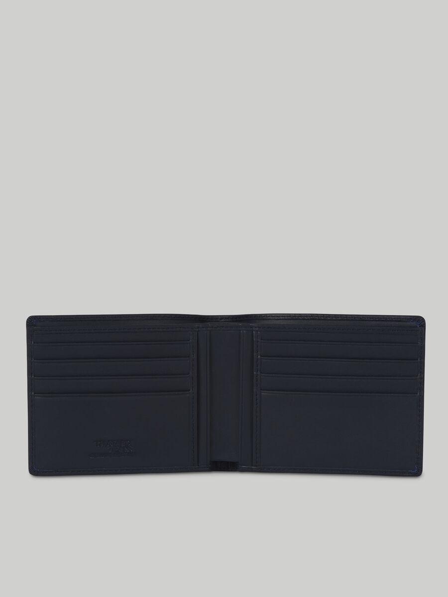 Portafoglio bi-fold in pelle liscia