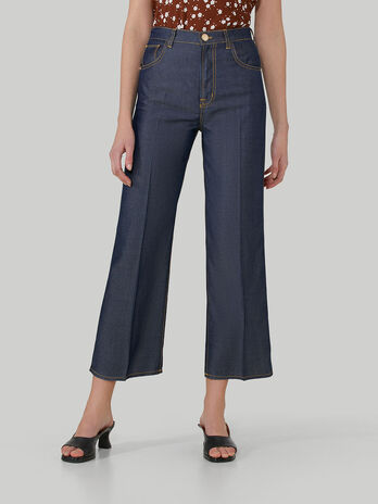 Pantalone wide fit in denim tencel