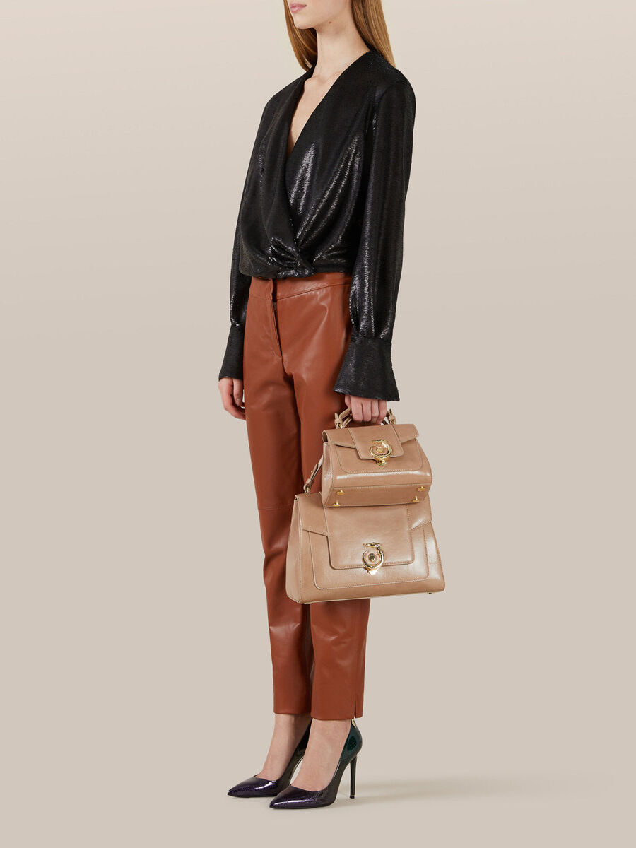 Regular New Lovy top handle bag in Athene leather