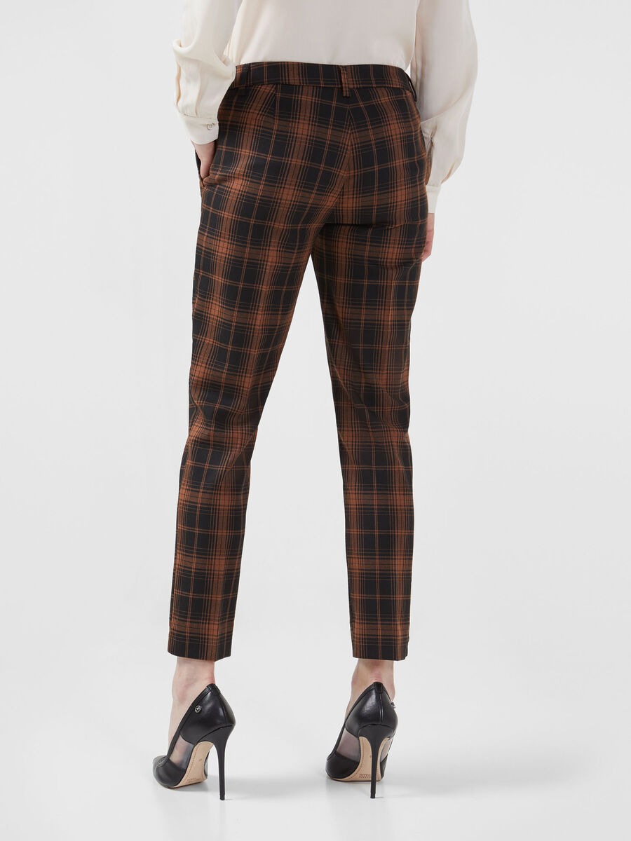 Chequered fabric trousers