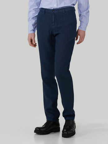 Pure linen aviator-fit trousers
