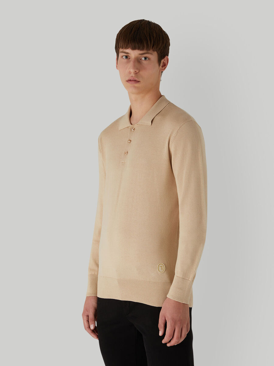 Regular-fit cotton and silk polo-shirt