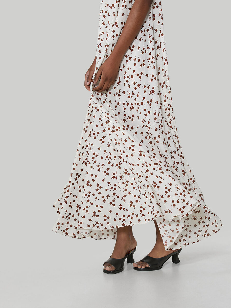Long sleeveless dress in floral viscose