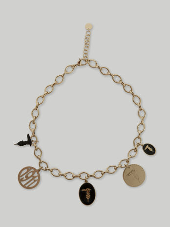 Metal chain necklace with charms