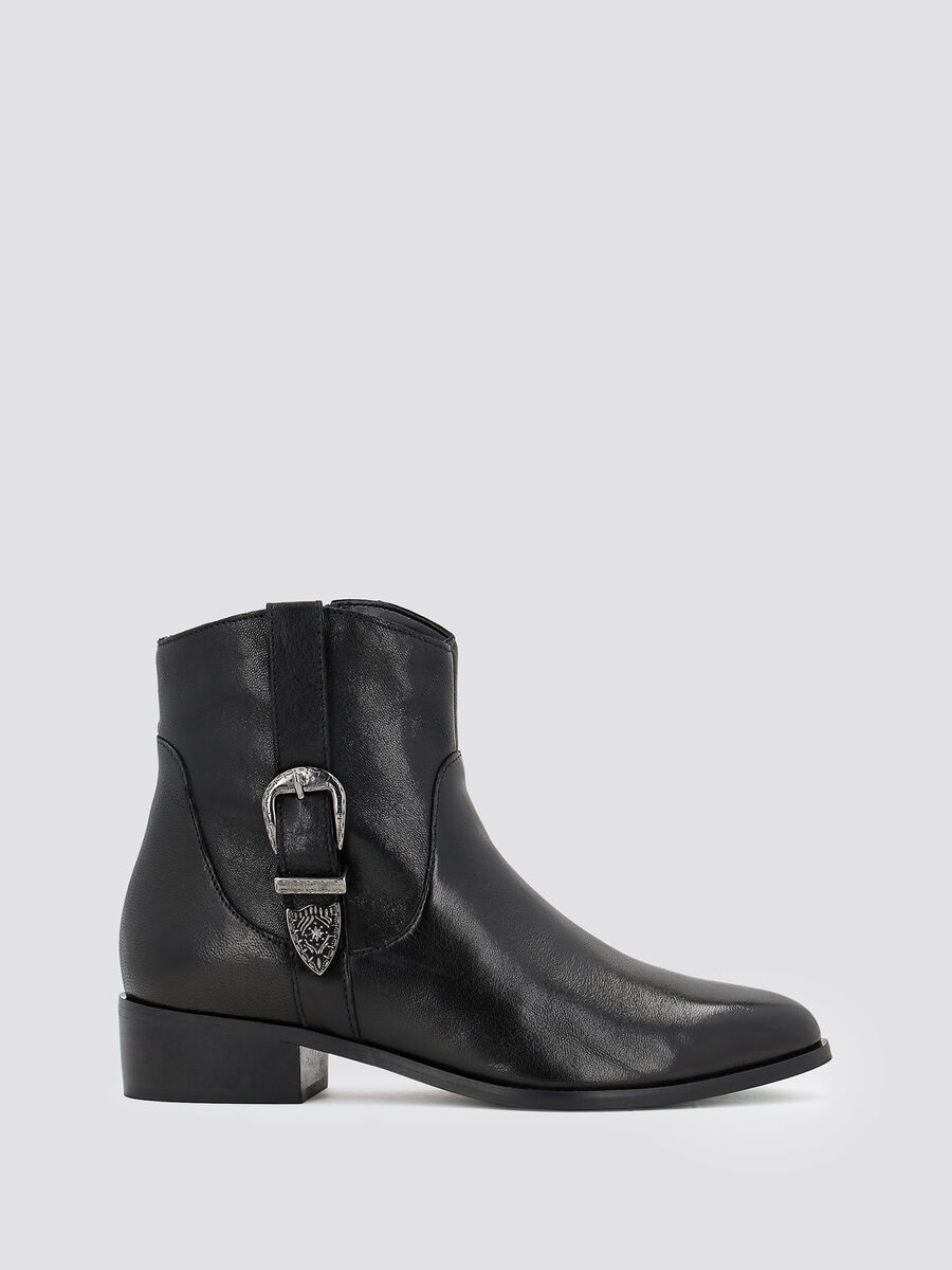 Smooth leather ankle boots with buckle