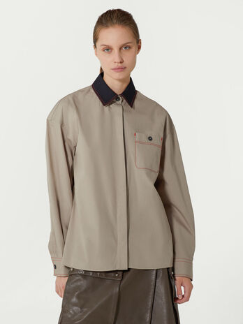 Poplin shirt with breast pocket