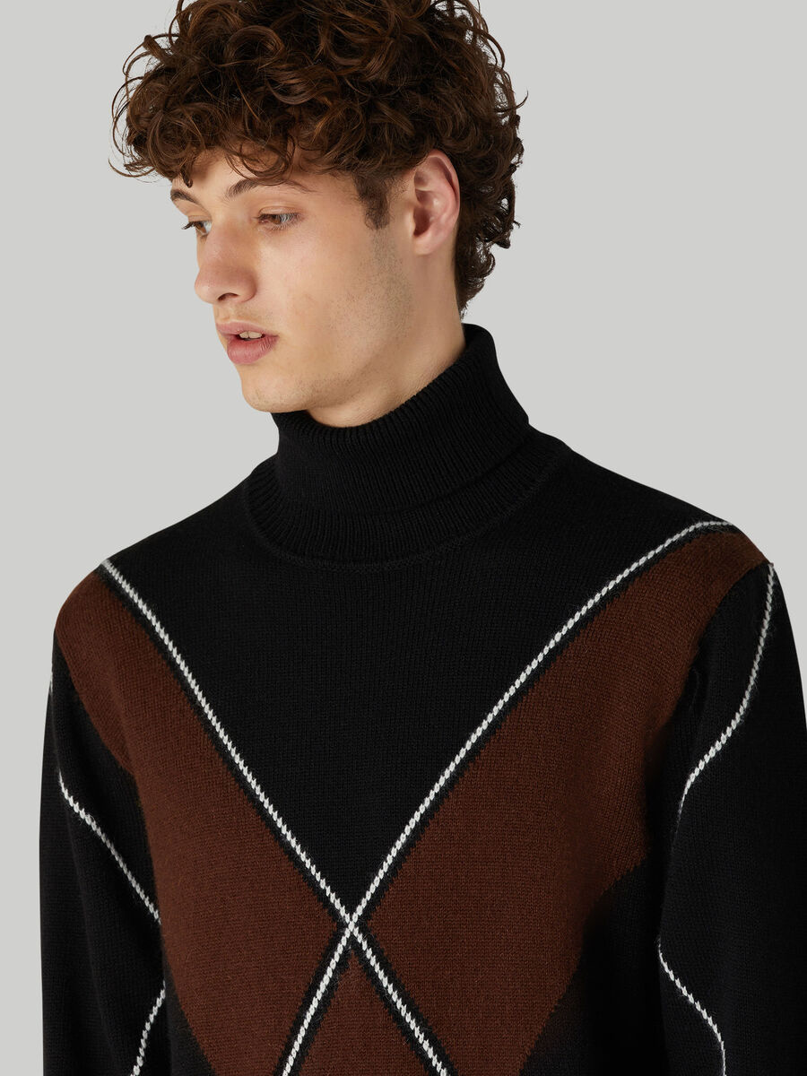 Oversized wool-blend polo-neck pullover