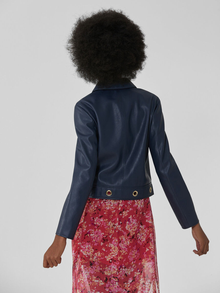 Soft faux leather jacket with eyelet details
