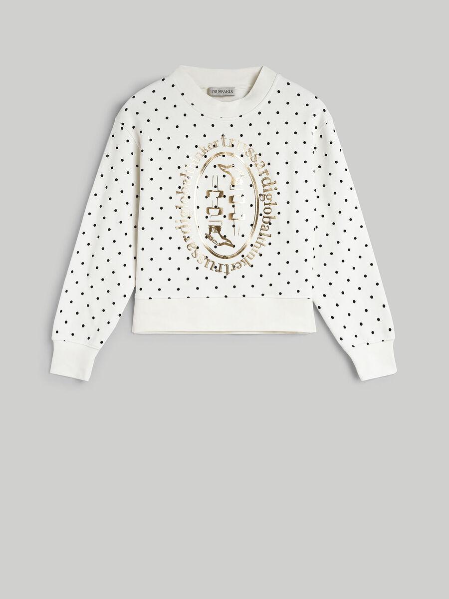 Sweat-shirt coupe boxy en coton a imprime lame
