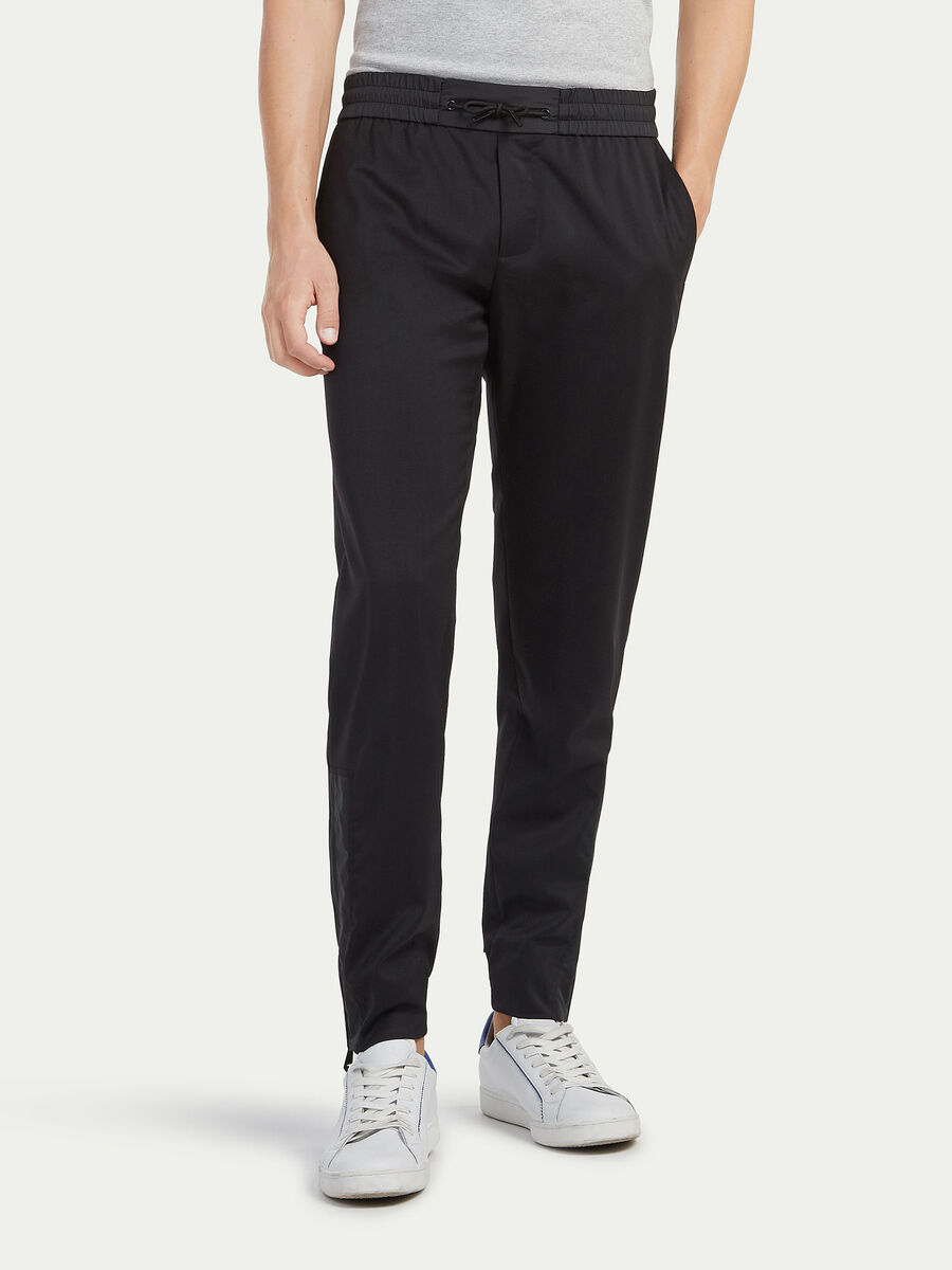 Stretch twill trousers with drawstring
