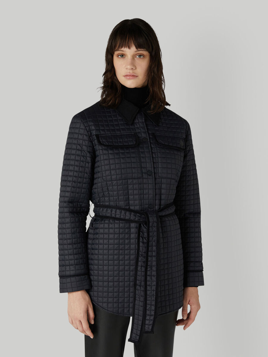 Quilted nylon jacket with belt
