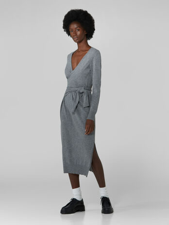 Vestido cruzado de lana y cachemira
