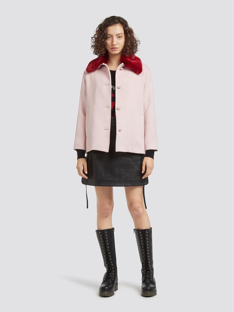 Fabric coat with full collar