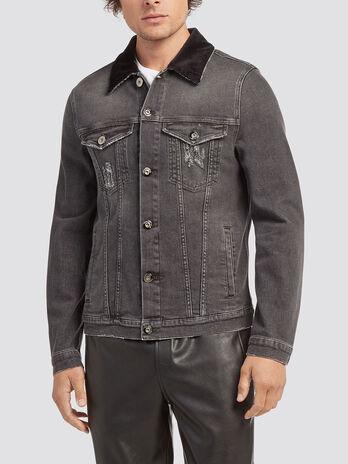 Blouson en jean avec col a fines cotes