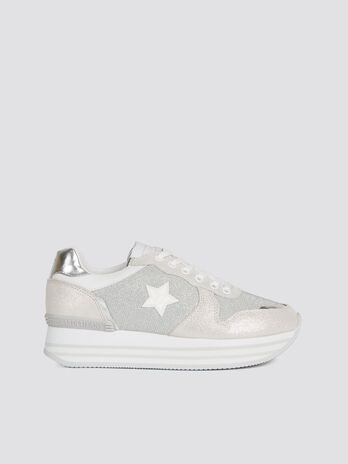 Lurex and suede mirrored effect running sneakers
