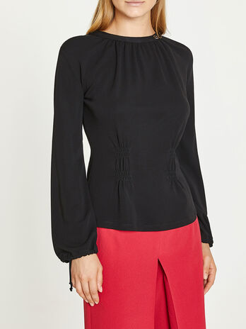 Black cinched waist blouse
