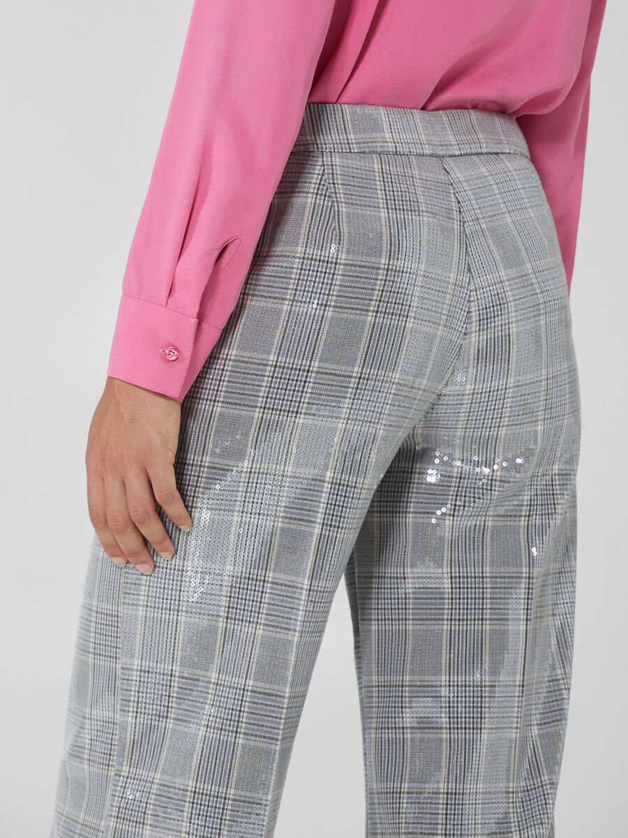 Chequered fabric trousers with sequins