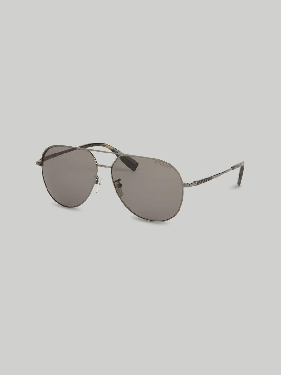 Flieger-Sonnenbrille aus Titan in dunklem Silber
