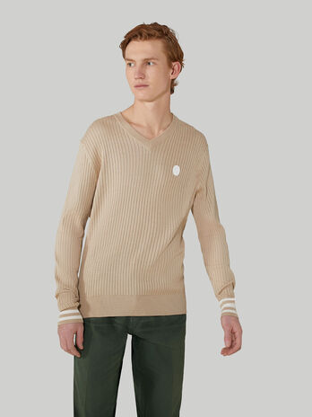 Pullover regular fit in cotone e seta con scollo a V