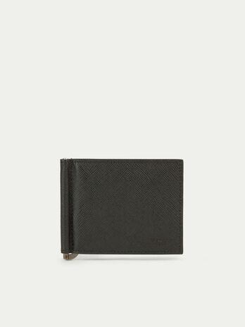 Monochrome saffiano print leather wallet