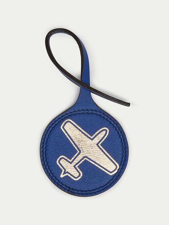 Round airplane charm in Velvet leather