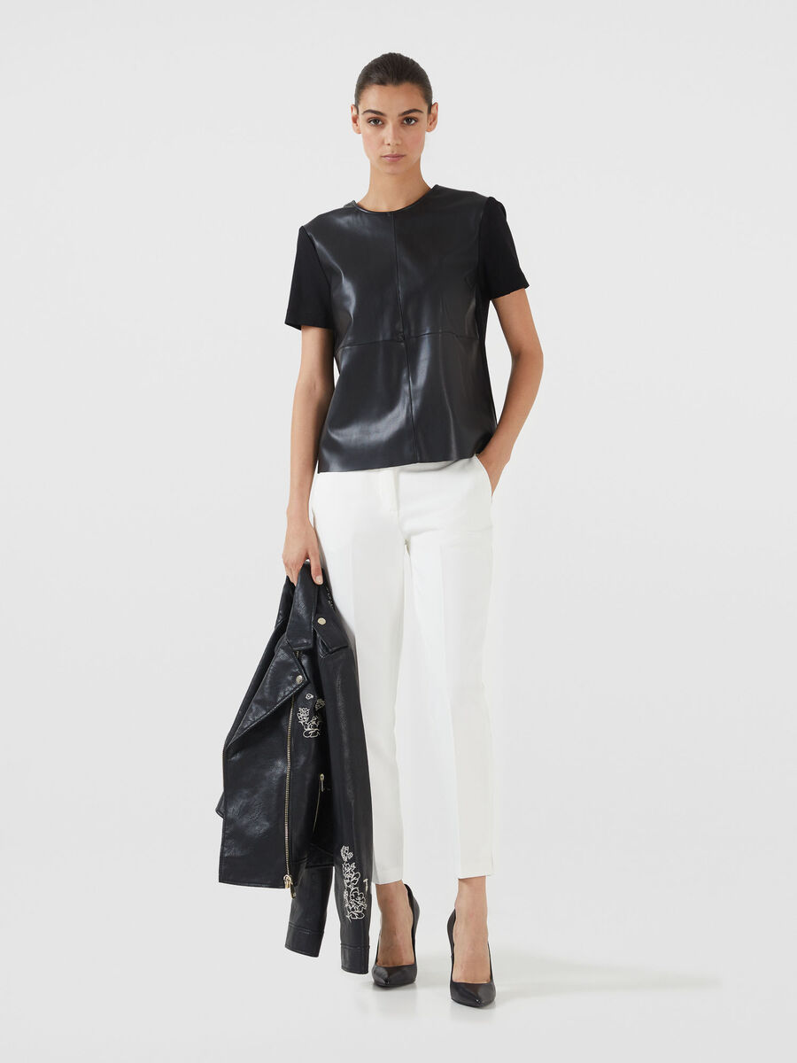 Faux leather and compact jersey T-shirt