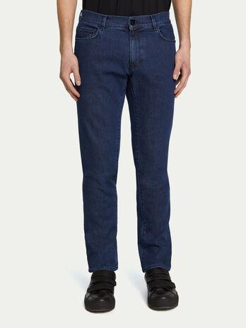 Slim fit solid colour five pocket jeans