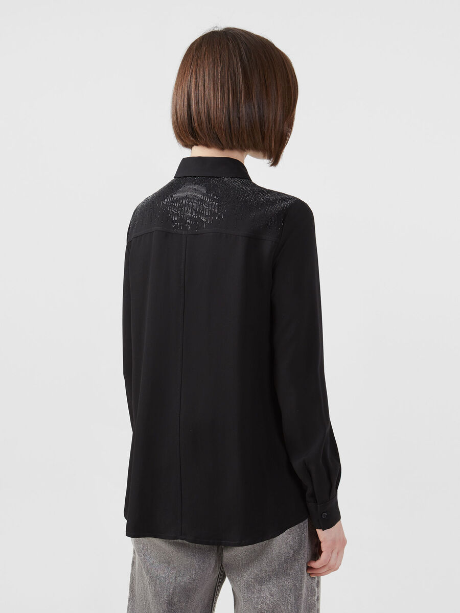 Tencel twill shirt with rhinestones
