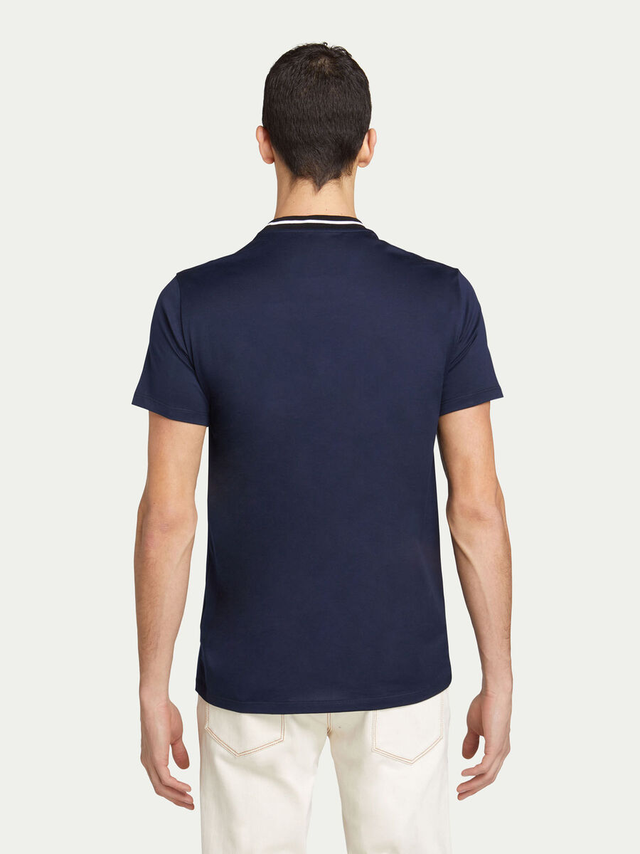 T shirt regular fit in jersey con banda a contrasto