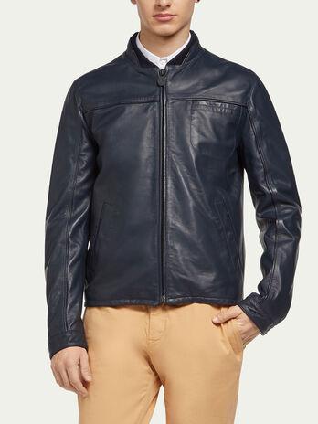 Matte lambskin jacket with edging