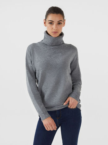 Pullover a collo alto over fit in misto lana