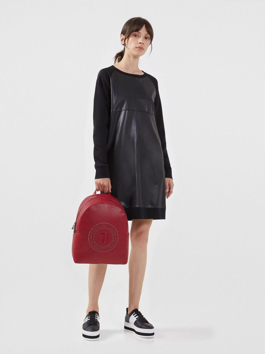 Solid colour faux leather and fleece dress