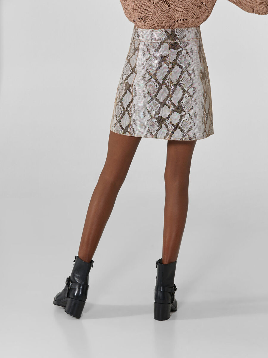 Faux leather miniskirt with python print