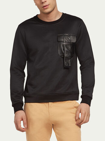 Sweatshirt with breast pocket and tab detail