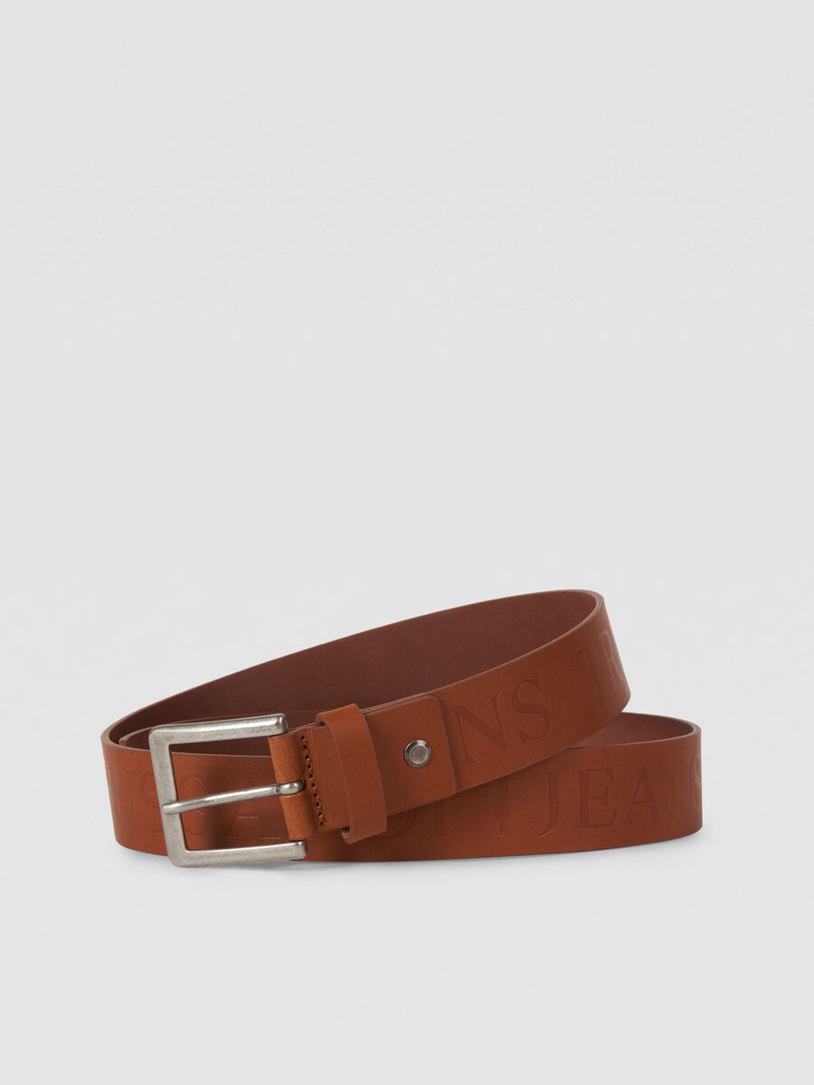 Leather Tici belt with debossed logo