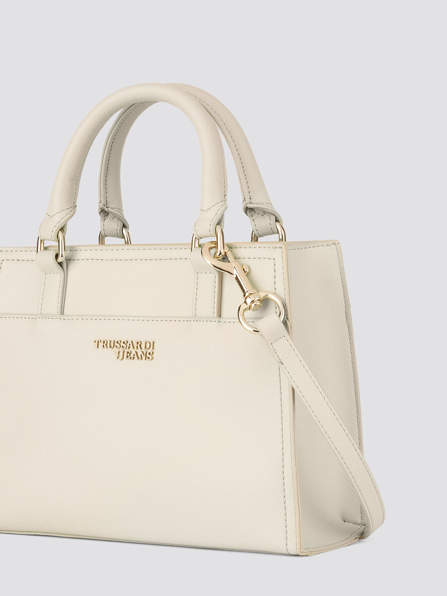 Small and light saffiano T-Easy tote with logo detail
