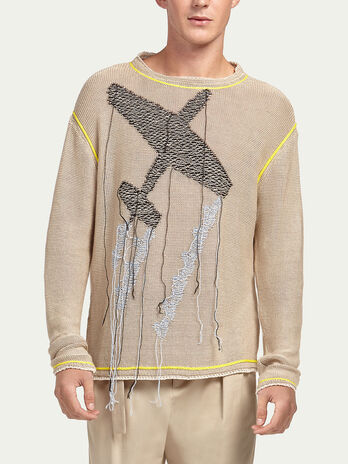 Pure linen pullover with airplane embroidery