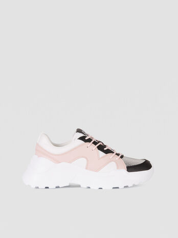 Colour block running sneakers in Buffalo faux leather