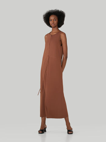 Long regular-fit viscose knit dress