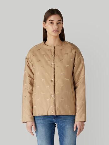 Crew-neck jacket in monogram jacquard